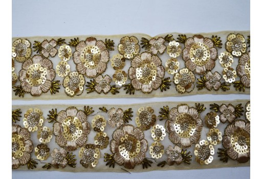 Beaded sequin beaded lace fabric trim gold indian laces trim by the yard embroidered decorative sari border sewing fashion crafting ribbon cushions trimmings clothing accessories