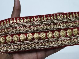 Maroon decorative indian sari border by the yard saree embroidered ribbon sewing fabric trim crafting embroidery costumes gold trimmings boutique material