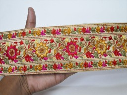 Beautiful stunning embroidered trims for handbags magenta decorative crafting ribbon embroidered sewing fabric trim by the yard indian sari border accessories beach bags and hats trimmings