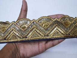 Sewing  trims clothing accessories navy blue crafting sequins embroidered embellishment gold sewing cushion trimmings ribbon indian sari border saree fabric trim by the yard