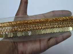 Gold sequins lace embroidered embellishment trimmings ribbon indian sari border saree fabric trim by 2 yard gold indian crafting sewing fashion blogger