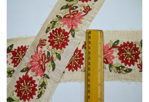 Beautiful wedding wear embroidery ribbon coral red embroidered decorative trim by 9 yard Indian laces sari border craft ribbon sewing trimming tape costume fashion accessories