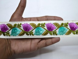 Wholesale purple border embroidery embellishments ribbon decorative fabric trim by 9 yard Indian sari lace embroidery crafting trimming sewing accessories tape
