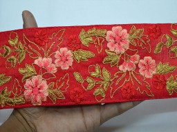 Beautiful trim stylish borders red embroidered accessories saree border fabric trim by yard indian laces sari ribbon wedding crafting floral sewing trimmings fashion tape