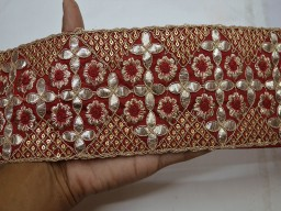 Maroon embroidered decorative sari border indian sequined trims by the yard gotta pati saree ribbon embellishment sewing crafting borders embroidery trim for scarves fashion blogger
