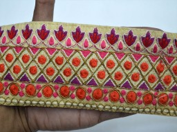 Bridal clutches embroidery beige saree fabric trim by the yard embroidered trimmings thread work ribbon indian costume sari crafting sewing accessories curtains border