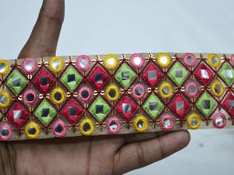 Beautiful trim stylish borders yellow pink embroidered saree fabric trim by the yard indian laces crafting sari ribbon costume border sewing accessories lehenga trimmings