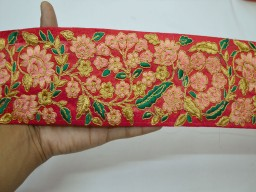 Beautiful trim stylish borders red embroidered fashion decorative indian sari border trim by the yard sewing crafting ribbon cushion covers trimming sewing accessories