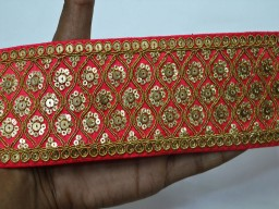Beautiful carrot read stunning decorative borders embellishments crafting ribbon embroidered designer laces fabric indian sari trimming supplies clothing accessories home decor trim by the yard stylish lehenga online tape