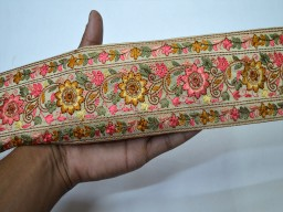 Beige decorative crafting ribbon embroidered sewing fabric trim by the yard indian sari border accessories beach bags and hats trimmings beautiful stylish borders fashion blogger