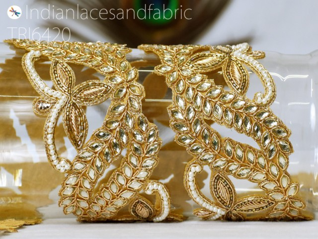 Decorative handcrafted zardozi sari gold trim by the yard crafting embellishments ribbon Indian saree sewing border laces home decor party wear gown wedding dress ottoman decoration trims