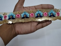 Multi purpose border 3 yard blue embroidered garments accessories embellishment laces saree border fabric trims decorative crafting sewing ribbon sari trimming