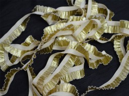 Gold Elastic Ruffle Elastic Stretch Ribbon Lace ruffled elastic tape Trim headband supplies Stretch Ribbon Trim