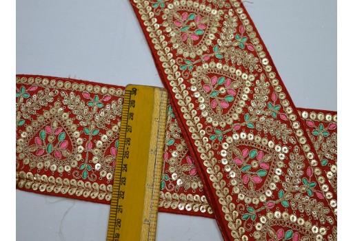 Wholesale beautiful red saree fabric trim by 9 yard embroidered embellishment trimmings wedding lehnga ribbon Indian sari gold lace crafting sewing sequins multipurpose border