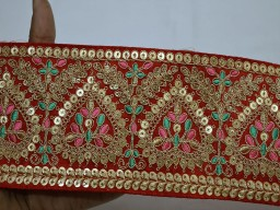 Beautiful red saree fabric trim by the yard embroidered embellishment trimmings lehnga ribbon indian sari gold crafting sewing sequins multi purpose border