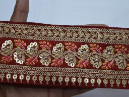 Christmas supplies home decor indain saree red border decorative embellishment embroidery fabric trim by the yard wedding wear fancy costume lace gold sewing crafting accessories ribbon