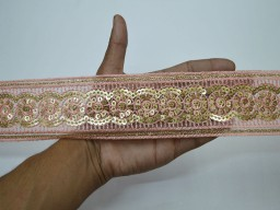 Christmas supplies home decor pink and gold border embroidery dress designer embellishments ribbon decorative saree fabric trims by the yard embroidered sewing crafting sequins clothing accessories border for shrug