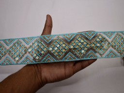 Embroidery embellishments decorative light turquoise blue trim by the yard embroidered indian border sewing crafting wedding wear costume trimmings home decor curtain design beautiful sequins lace