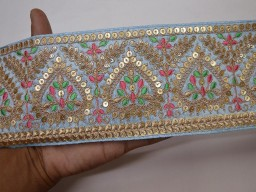 Bridal clutches embroidery border decorative handcrafted powder blue saree fabric trim by the yard sewing accessories gold crafting sequins work lace christmas supplies home decor embellishment trimmings