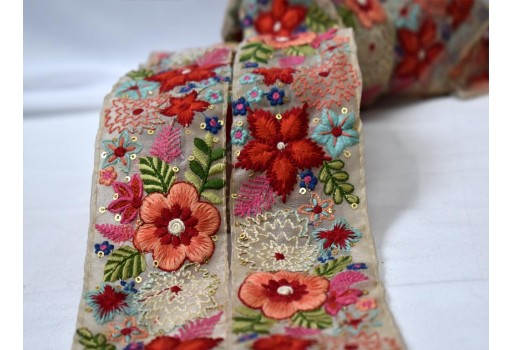 Red and peach floral design embroidery border sewing crafting decorative embellishment trim by the yard garments accessories kids wear fancy costume beautiful lace organza fabric designing stylish dress trimmings