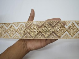 Garments accessories indian sari border christmas supplies curtain decor ribbon wedding wear designer dress trim by the yard decorative embroidery gold sequins crazy quilt lace embellishment sewing crafting beige trimmings