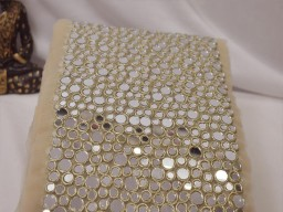 """Boutique material 7.5"""" decorative dull gold mirror trim by the yard wedding dress ribbon bridal belt sashes lace costume crafting sewing exclusive border"""