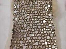 "Decorative border for festive wear 7.5"" copper mirror trim by the yard wedding dress ribbon bridal belt sashes indian costume crafting sewing exclusive wedding dress ribbon"