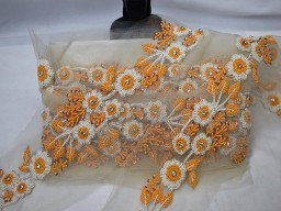 Decorative orange white beaded trim by the yard wedding dress tape bridal belt sashes indian laces costume crafting sewing sari border wedding gown accessories festive suits trimming exclusive costume ribbon