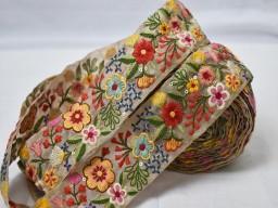 Wholesale embroidery fabric trim décor kurti embellishment decorative multi color embroidered saree ribbon cra..