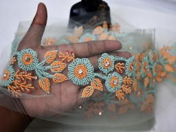 Decorative orange mint beaded trim by the yard wedding designer dress ribbon exclusive bridal belt sashes decorated indian laces costume crafting sewing clothing accessories