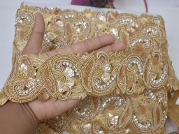 Bridal clutches zardozi trims exclusive dull gold indian beaded lace trim by the yard handmade wedding dress tape bridal belt sashes decorative crafting beads sari border