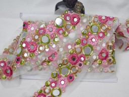 Clothing accessories wedding decoration trims indian laces decorative pink mirror trim by the yard wedding lehnga trimmings bridal costume sewing border crafting ribbon for dresses