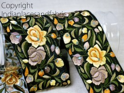 9 Yard Wholesale Crafting Yellow Floral Trims Decorative costume Sewing Sari Border Indian wear Embroidered Saree Costume Tape Dress Making Trimming Tape embroidery dresses lace