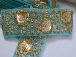 Blue embroidery fabric trim embellishment indian laces by the yard embroidery sari border lehnga decorative sewing crafting dress floral stylish lace festival wear ribbon