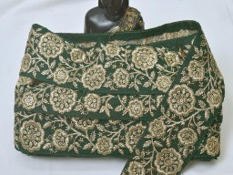 Bottle green and  gold embroidered crafting ribbons sewing beach bags trimmings wedding dresses lace bridal wears fashion tape designing home decor beautiful trim by the yard accessories stylish dupatta border