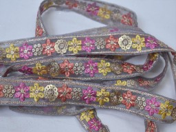2 Yard Purple Yellow Decorative Embroidery Embellishments Ribbon Saree Bridal clutches traditional Trims Embroidered Indian Border Sewing Costume Decorative Trimming garment clothing dresses tape