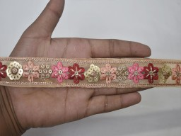 2 Yard Peach Floral Decorative Embroidery Embellishments accessories clothing garment Ribbon wedding Saree Trims Embroidered Indian tape Sewing Costume Decorative Trimming table runner cover Border