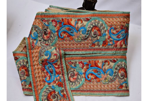 Garment accessories boutique material wholesale embroidered saree border fabric trim by 9 yard Indian decorative ribbon sari border crafting sewing costumes lace table cover trimmings wedding trim of gown