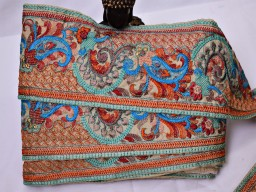Garment accessories boutique material wholesale embroidered saree border fabric trim by 9 yard Indian decorati..