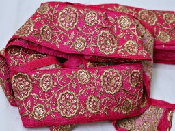 Beautiful magenta gold embroidered saree fabric trim by the yard indian laces floral sari border sewing costume accessories beach bag hats trimmings new unique design festival wear laces craft supplies and tools