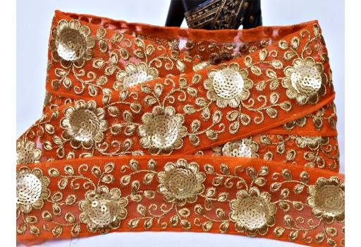 Boutique material craft supplies and tools orange embroidery fabric trim embellishment indian laces by the yard embroidery floral sari border decorative sewing crafting dress ribbon for scarves fashion blogger christmas trimmings