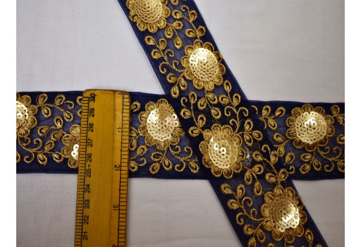 Boutique material clothing accessories navy blue embroidery floral fabric trim embellishment lace by the yard embroidery floral sari border decorative sewing crafting dress ribbon for designing stylish blouses wedding wear and dresses