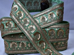 Boutique material pistachio green gold sequined saree fabric trim for lehenga blouses by yard embroidery embellishment trimming ribbon sequin exclusive sari border indian crafting sewing clothing accessories