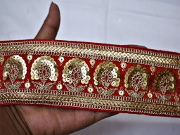 Boutique material red gold sequined saree fabric trim by yard embroidery embellishment ribbon sequins sari border indian crafting sewing cushion trimmings garments accessories