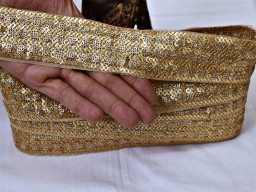 Boutique material gold sequined saree fabric multi purpose trim by 2 yard embroidery embellishment ribbon sequins fancy border for sarees indian crafting sewing dress dupatta trimmings