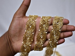 Exclusive decorative gold beaded trim wedding wears gown bridal belt sashes dress ribbon by the yard indian laces costume crafting sewing handcrafted border for tunics boutique material
