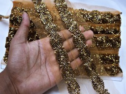 Beautiful stunning exclusive antique gold beaded trim by the yard wedding gown bridal belt sashes ribbon indian laces costume crafting sewing tape sari border costume designer fashion blogger clothing accessories