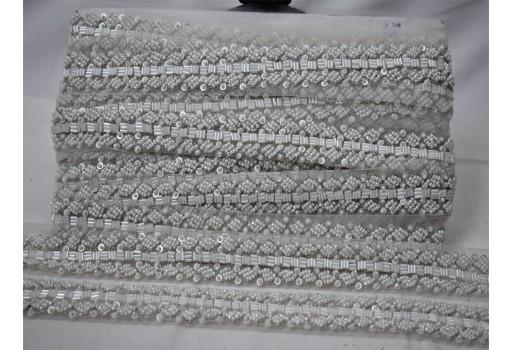 Beautiful stunning lace decorative white fringe beaded trim by the yard bridal belt sashes tape wedding dress ribbon accessoies for lehenga blouses costume crafting sewing sari border
