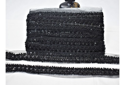 Boutique material decorative black beaded trim exclusive bridal belt sashes wedding dress trim by the yard indian laces costume designer fashion blogger crafting sewing accessories craft supplies and tools