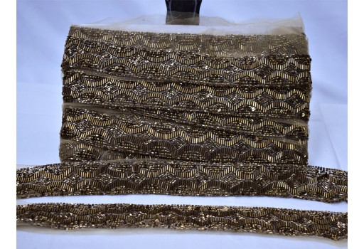 Boutique material indian laces decorative antique gold beaded trim by the yard bridal belt sashes wedding dress ribbon crafting sewing embellish sari border for designer suit garment accessories wedding wear and dresses